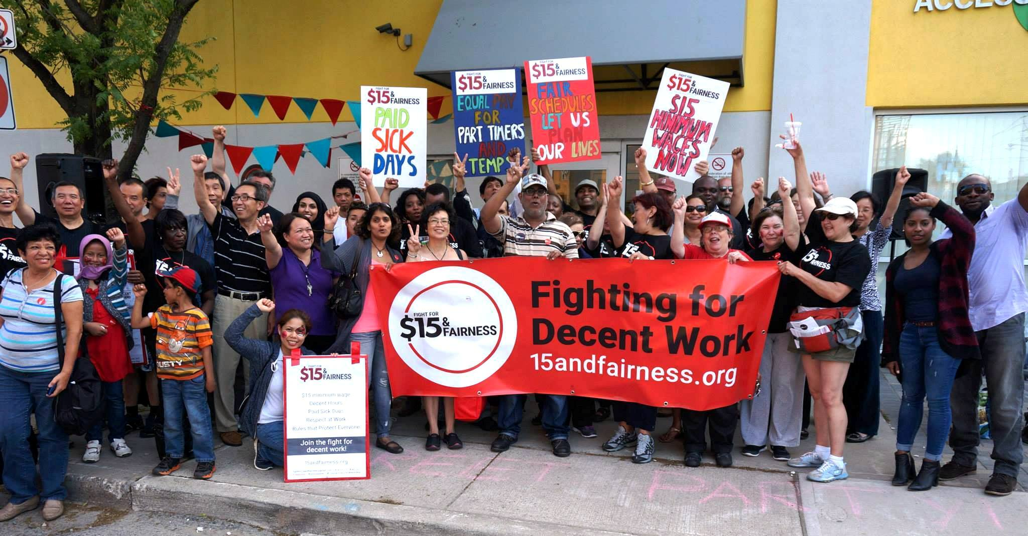 Group picture of Workers' Action Centre members at the 2015 Street Party