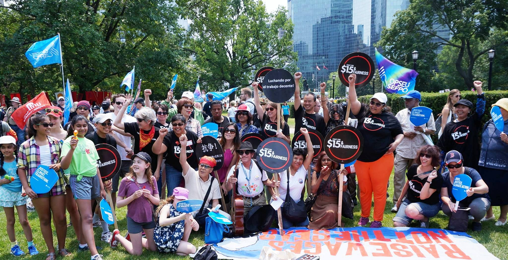 Group picture or Workers' Action Centre after March for Jobs, Justice & the Climate in 2015.