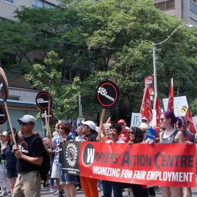 Workers' Action Centre members at the March for Jobs, Justice & the Climate on July 5.
