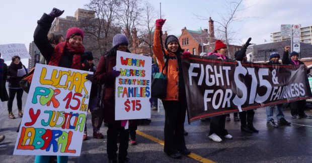 WAC members rally for $15 and fairness.