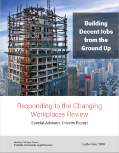 Cover of Building Decent Jobs from the Ground Up - a building in construction