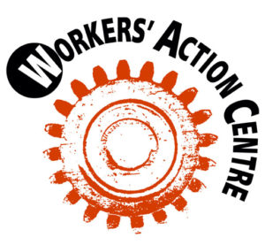 Workers' Action Centre logo, red workers' cog