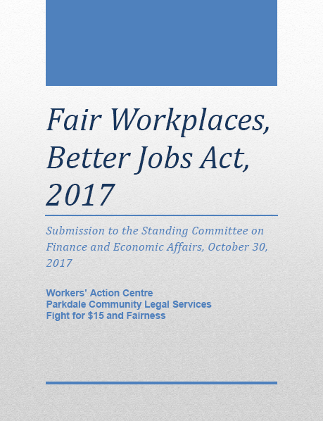 WAC, PCLS and $15 & Fairness submission to the standing committee on finance and economic affairs, October 30, 2017