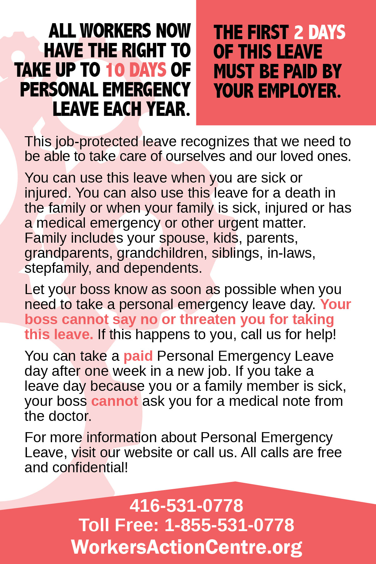 English personal emergency leave postcard