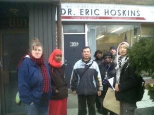 Our team outside MPP Eric Hoskin's office
