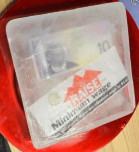 Block of ice presented to MPP Jeff Leal in Peterborough