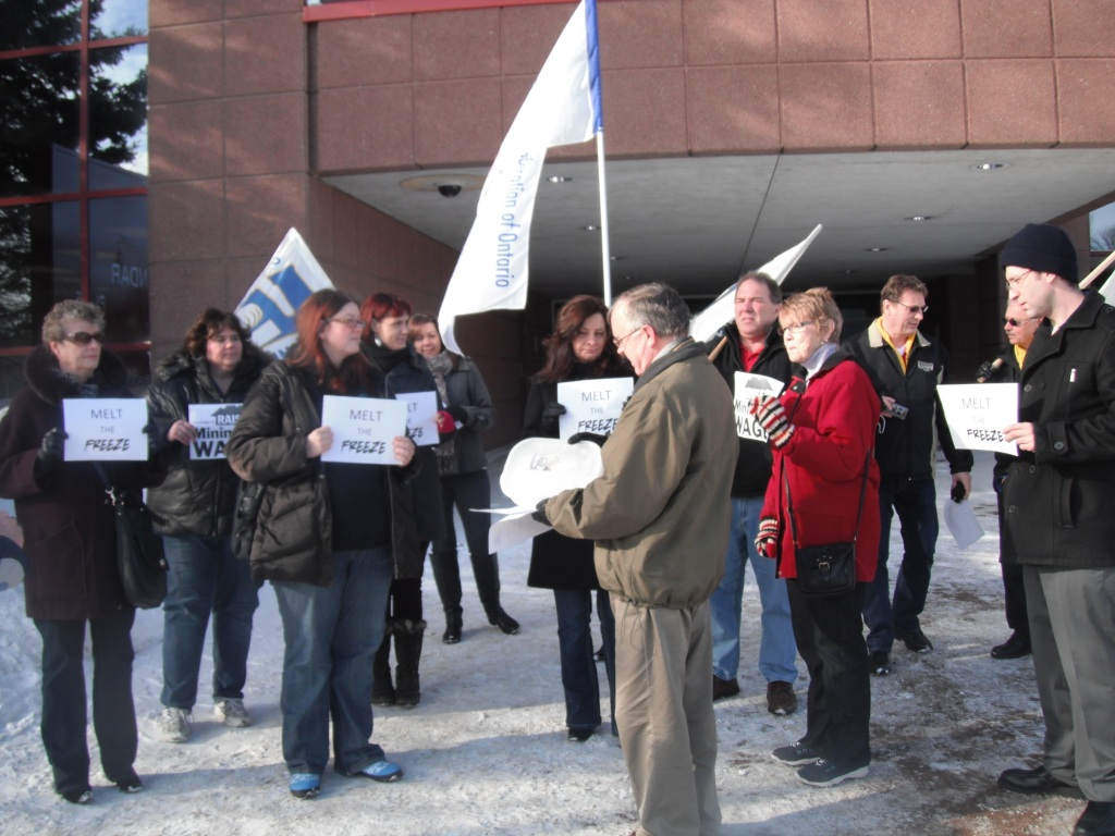 Community members outside Ministry of Labour office in Sault Ste. Marie