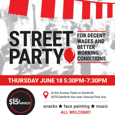 Flyer for Street Party for Decent Wages and Better Working Conditions