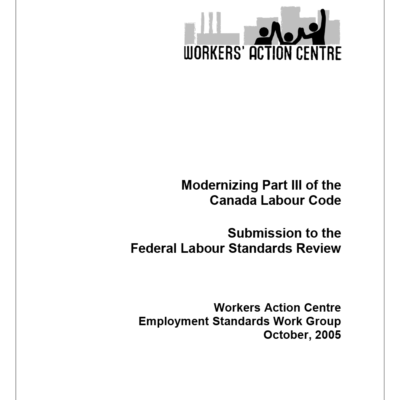 Report on Part 3 of the Canada Labour Code