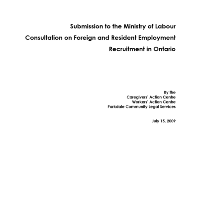 Submission on Foreign and Resident Employment Recruitment