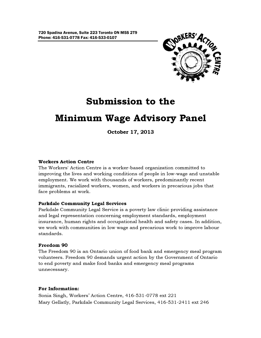 Submission on the Minimum Wage