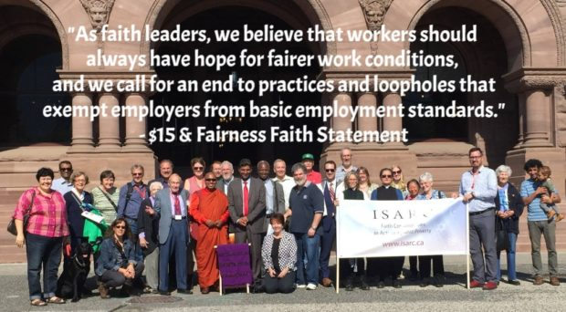 "Picture of ISARC prayer vigil and quote from faith statement: ""workers should always have hope for fairer work conditions"""