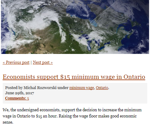 Image of open letter from 53 economists supporting a $15 minimum wage