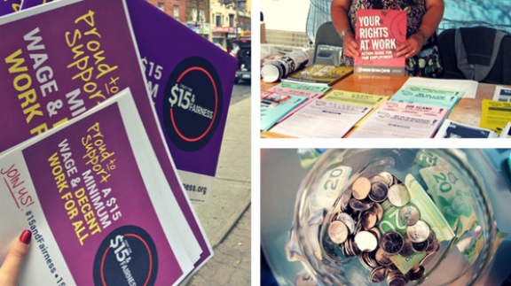 Gallery image of tip jar, know your rights booklets, and signs in support of decent work