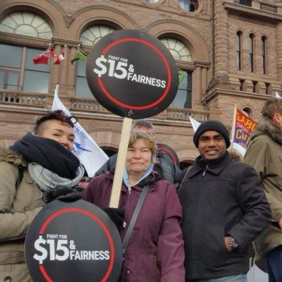 WAC organizers outside Queen's Park after Bill 148 passes third reading.