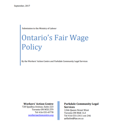 Submission on Ontario's Fair Wage Policy