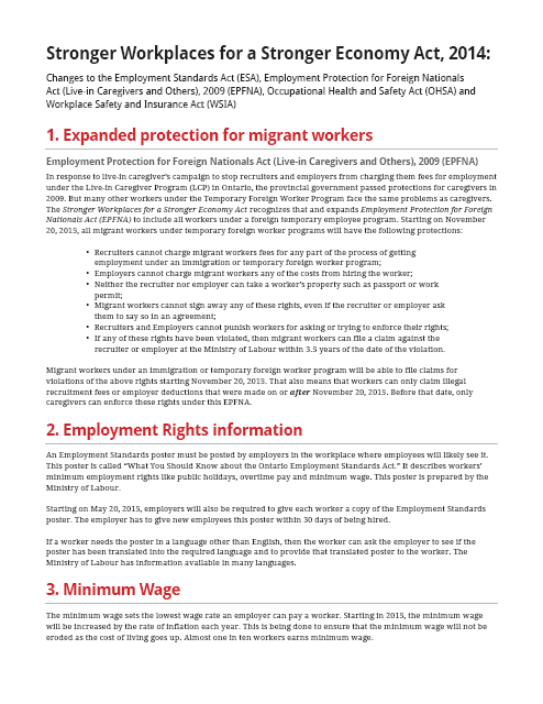 Summary of Stronger Workplaces Act