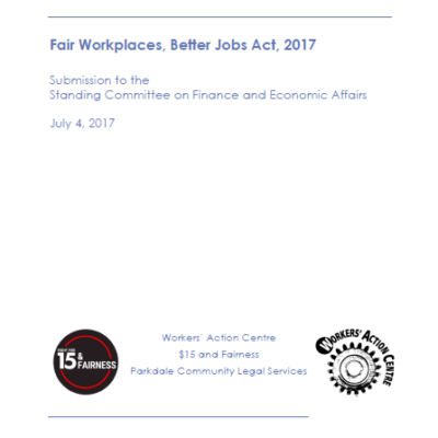 Submission on Bill 148, the Fair Workplaces, Better Jobs Act