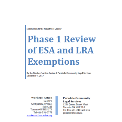 Submission on Phase 1 Review of the ESA and LRA Exemptions