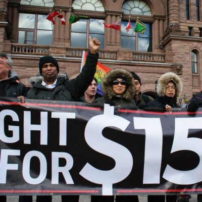 Rally outside Queen's Park after Bill 148 passes third reading, Nov 22, 2017
