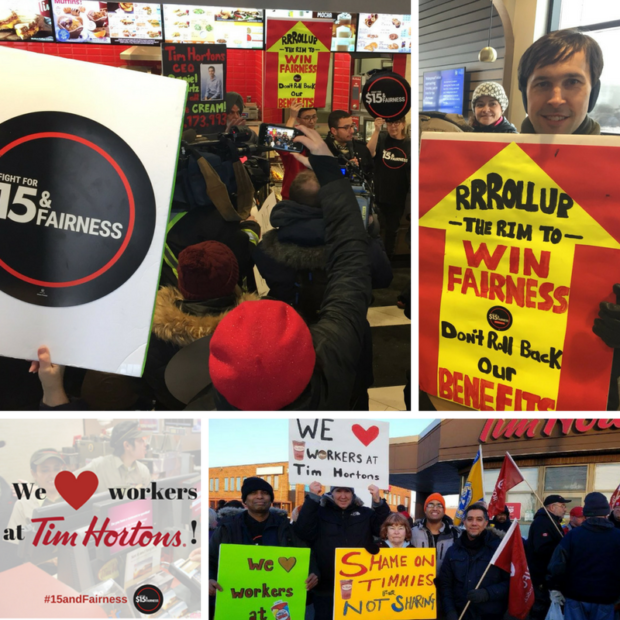 Protests in support of Tim Hortons workers.