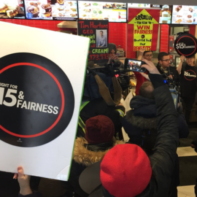Protest in support of Tim Hortons workers