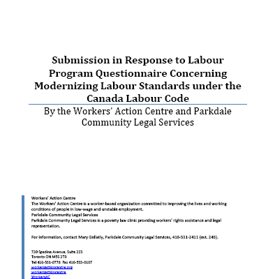 Submission on the Canada Labour Code Review, January 2018
