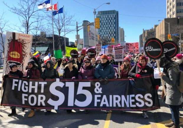 Workers' Action Centre members at Toronto's International Women's Day 2018