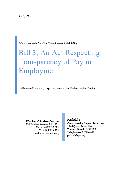 Bill 3, An Act Respecting Transparency of Pay in Employment - WAC and PCLS submission
