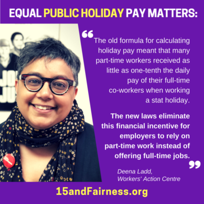 Equal public holiday pay matters - infographic