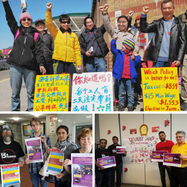 WAC members and allies do outreach to campaign for decent work during the 2018 Ontario elections.