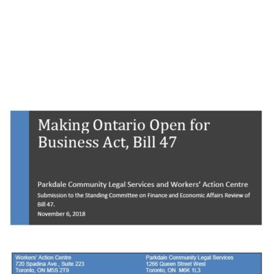Submission on Bill 47 Making Ontario Open for Business Act