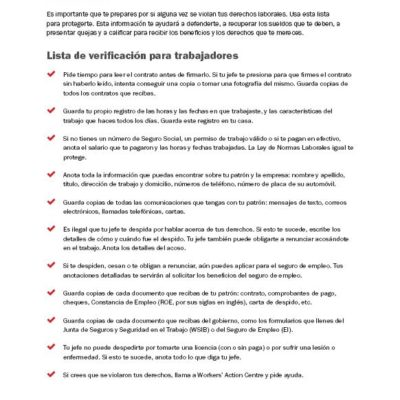 Checklist for workers in Spanish