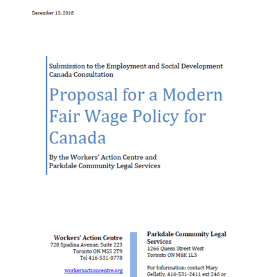 Proposal for a Modern Fair Wage Policy for Canada