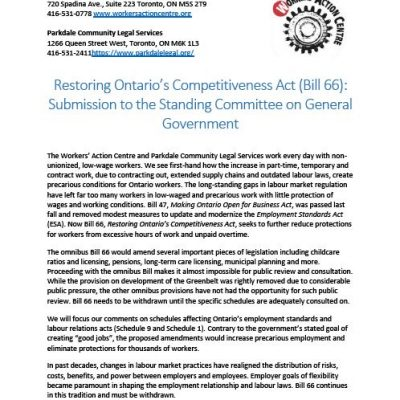 Bill 66 submission by WAC and PCLS