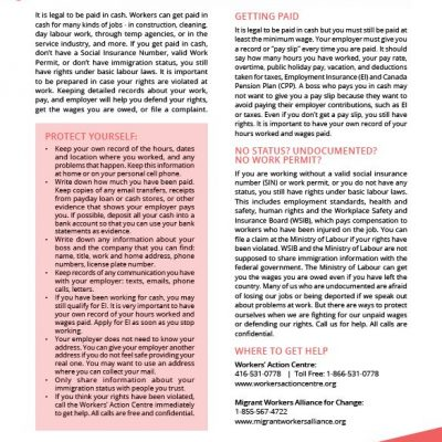 Working for Cash factsheet