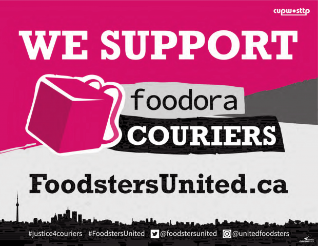 Foodsters united window sign