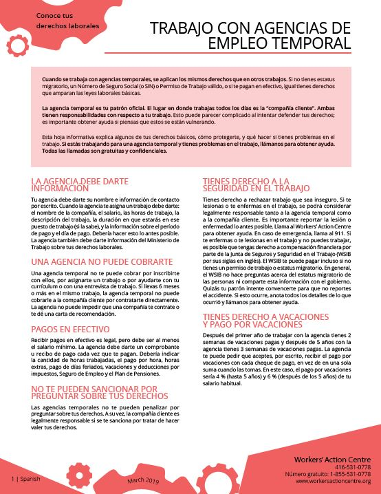 Temp Agencies - Spanish factsheet