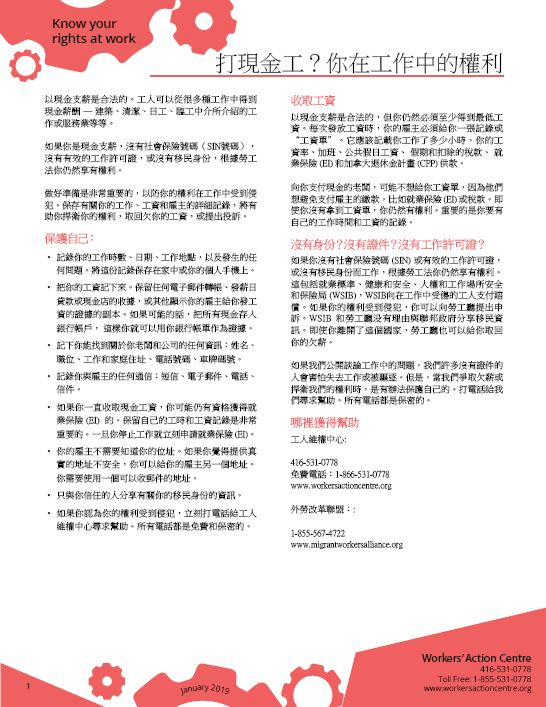 Working for Cash - Chinese factsheet