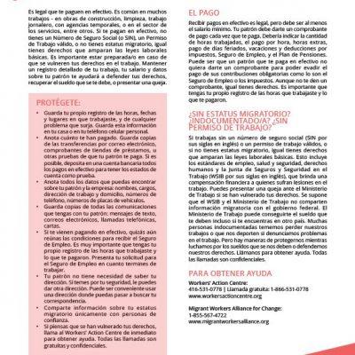 Working for Cash - Spanish factsheet