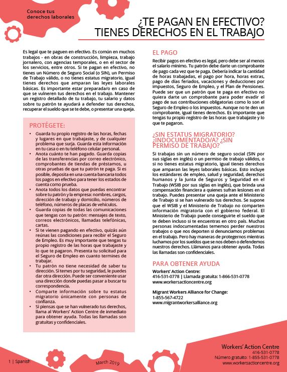 Working for Cash - Spanish factsheet