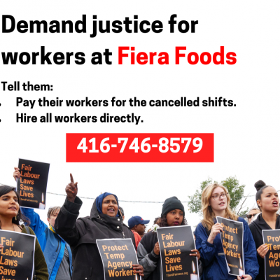 Link to Call Now to Support Workers at Fiera Foods