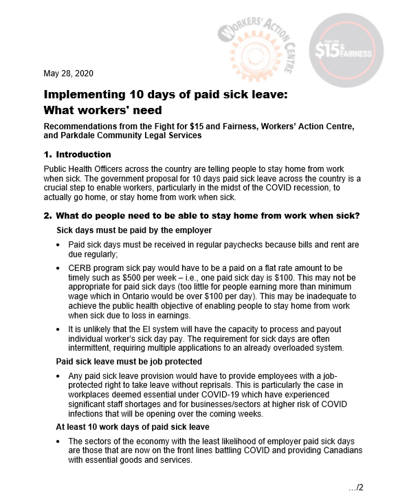 link to Implementing 10 days of paid sick leave