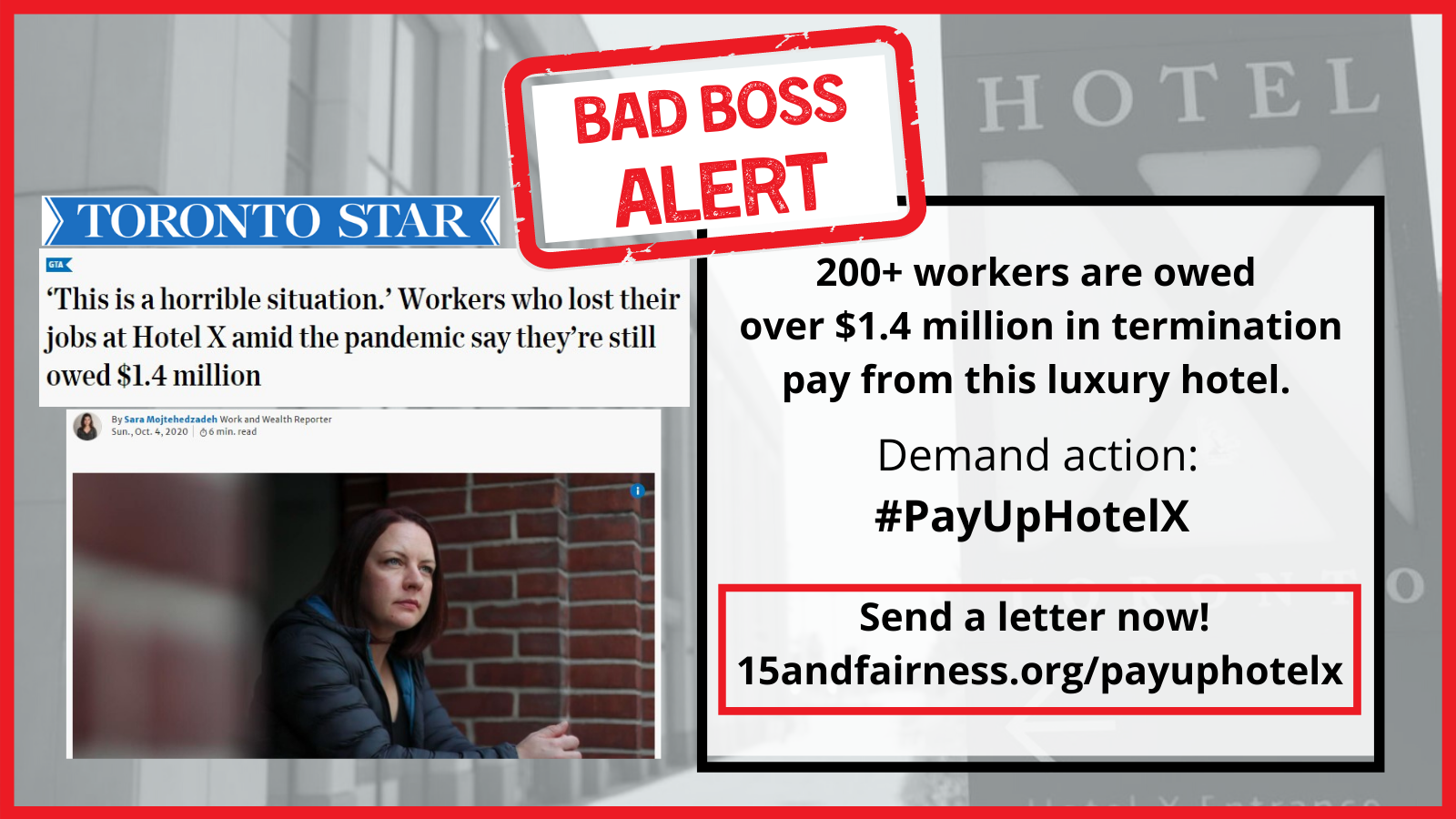 Send a letter to Hotel X demanding they pay up