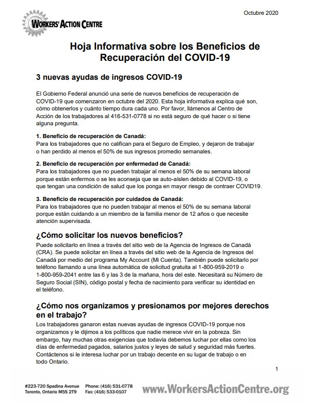 link to Spanish factsheet on COVID-19 Recovery Benefits