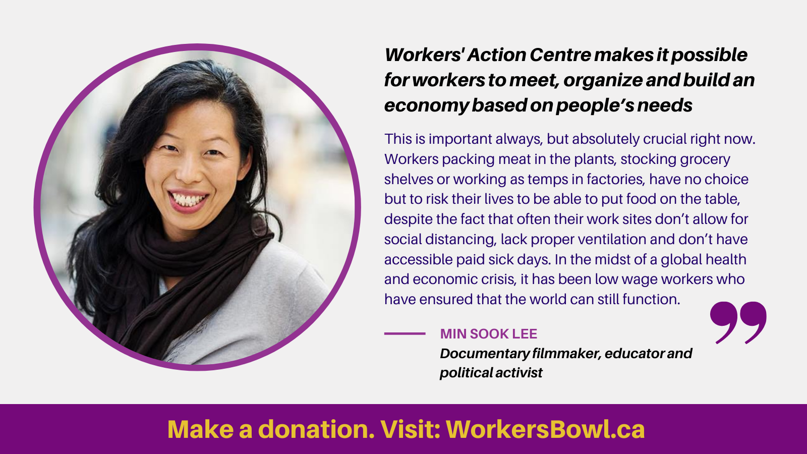 link to donate at the WorkersBowl.ca