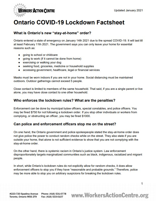 Link to Ontario COVID-19 Lockdown factsheet