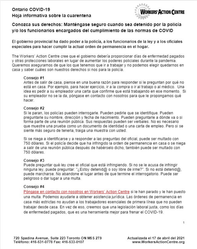 link to Spanish COVID-19 lockdown factsheet