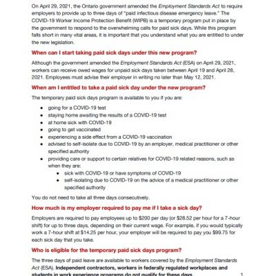 link to WIPB temporary paid sick days factsheet in English
