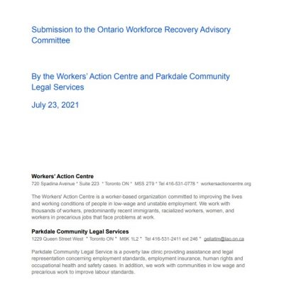 link to Submission to the Ontario Workforce Recovery Advisory Committee